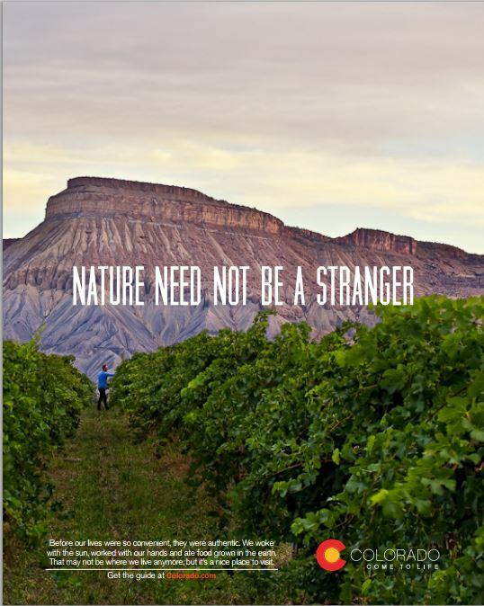 "Colorado's tourism marketing efforts have been branded under the tagline ""Come To Life"" since 2012. Now, agritourism attractions are enjoying the same exposure in magazine ads like this one."