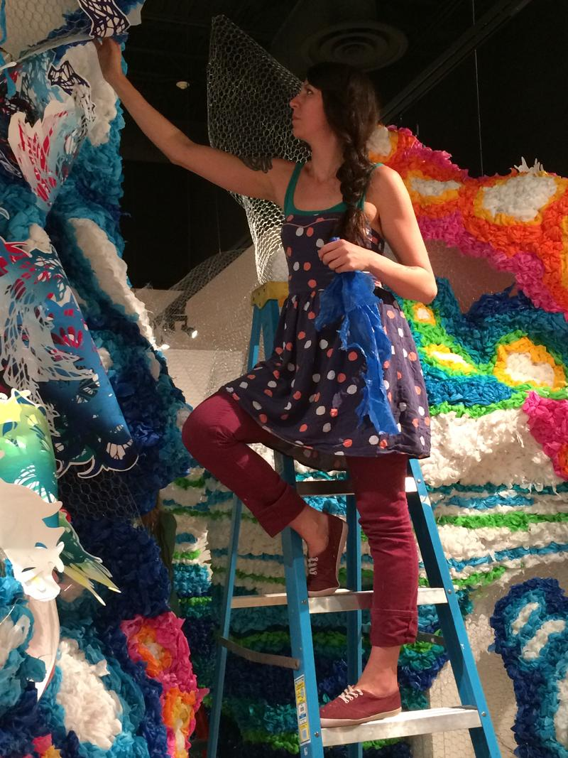 Crystal Wagner working on her installation.