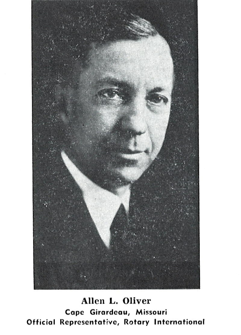 Photo of ALLEN LAWS OLIVER, 1939, as a Director of Rotary International.  Official Photo.