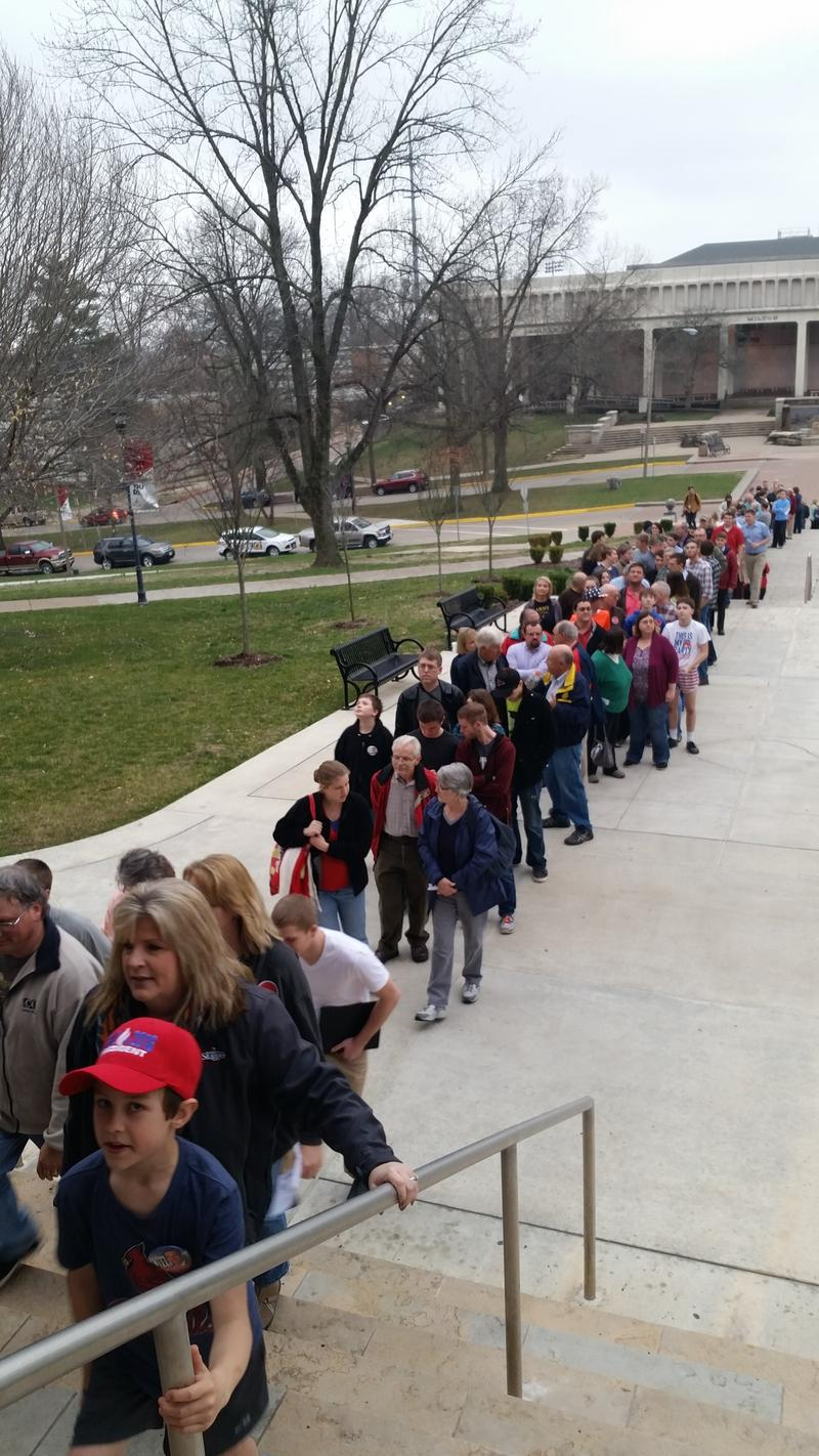 People wait outside of Academic Hall to see the Ted Cruz rally.
