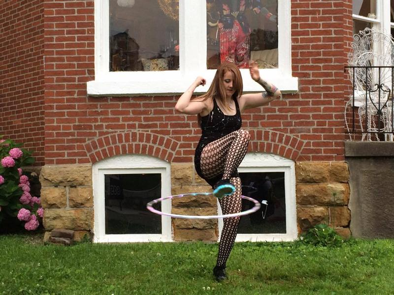 When basic hoop dancing isn't enough Welker spends her time fire hooping.