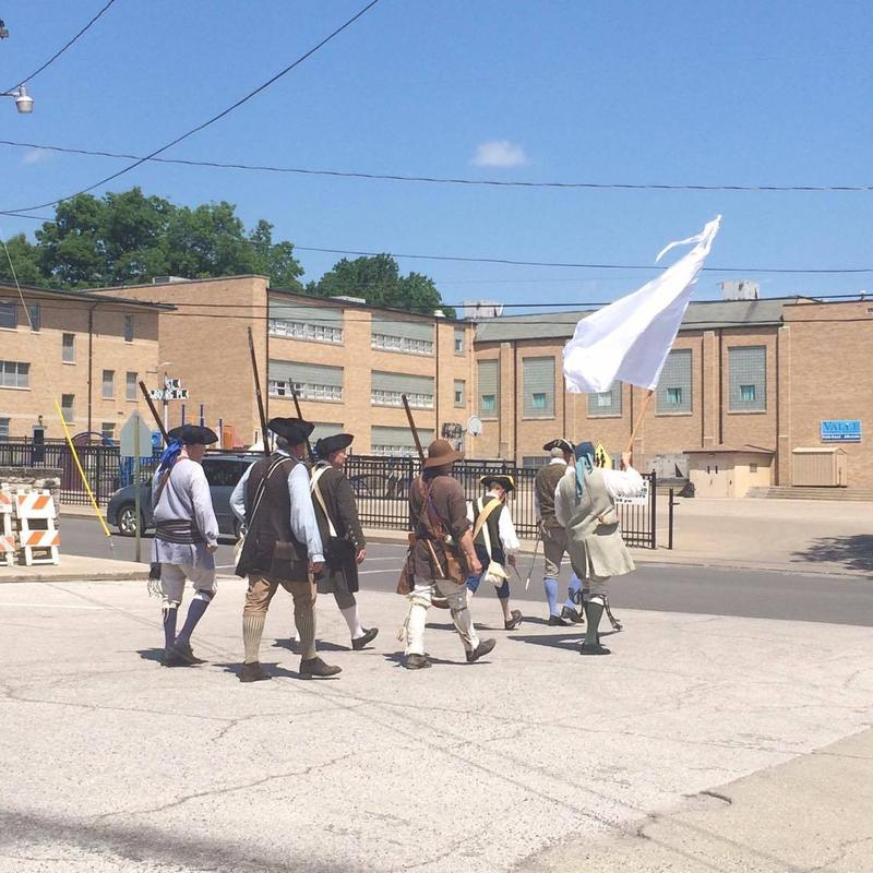 The Ste. Genevieve militia wore traditional French colonial clothing as they marched throughout the streets of Ste. Genevieve.