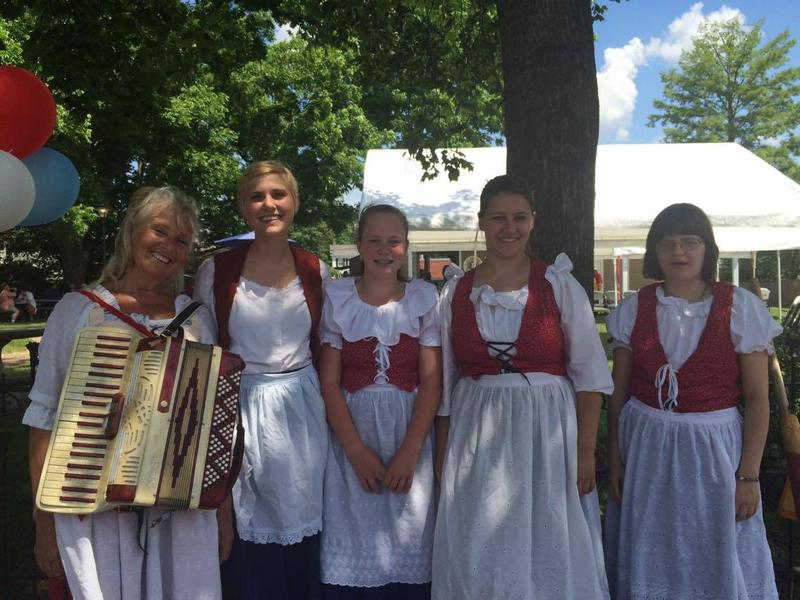 The local French singing group marched throughout the streets of historic downtown Ste. Genevieve singing traditional French songs. The quintet included from left Patti Naeger, Milly Naeger, Elizabeth Ganey, Claire Clonts and Michelle Swope.