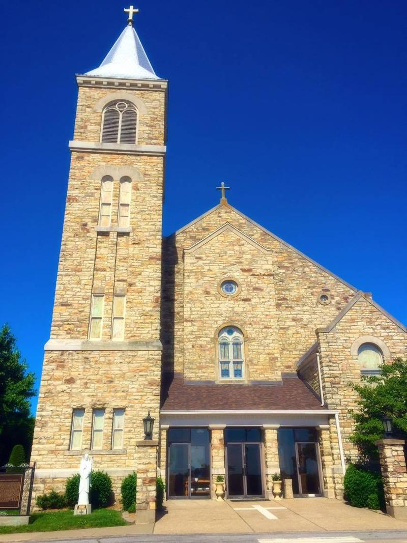 The heart of the community, St. Lawrence Catholic Church, basks in the sunlight.