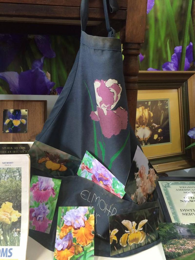 Niswonger's hybridizing apron sits in the display case surrounded by pictures of his irises and awards.