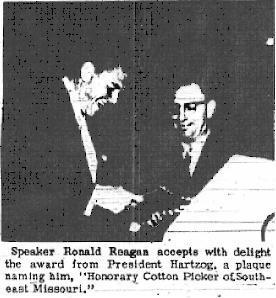 "Ronald Reagan accepts ""Honorary Cotton Picker"" award."