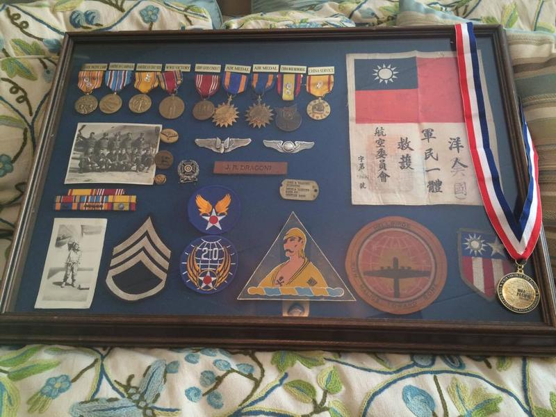 Staff Sgt. John Dragoni's frame of medals and honors.