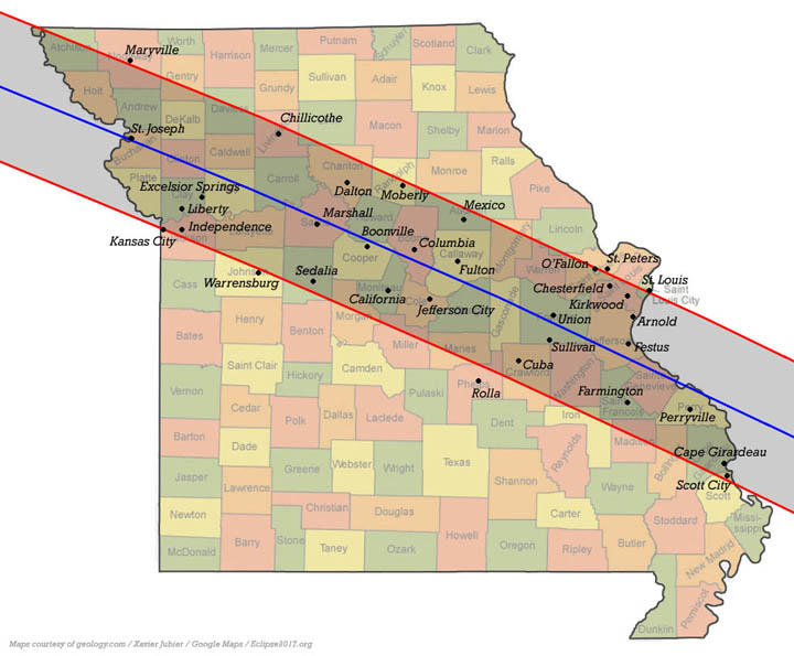 Path of solar eclipse on August 21, 2017