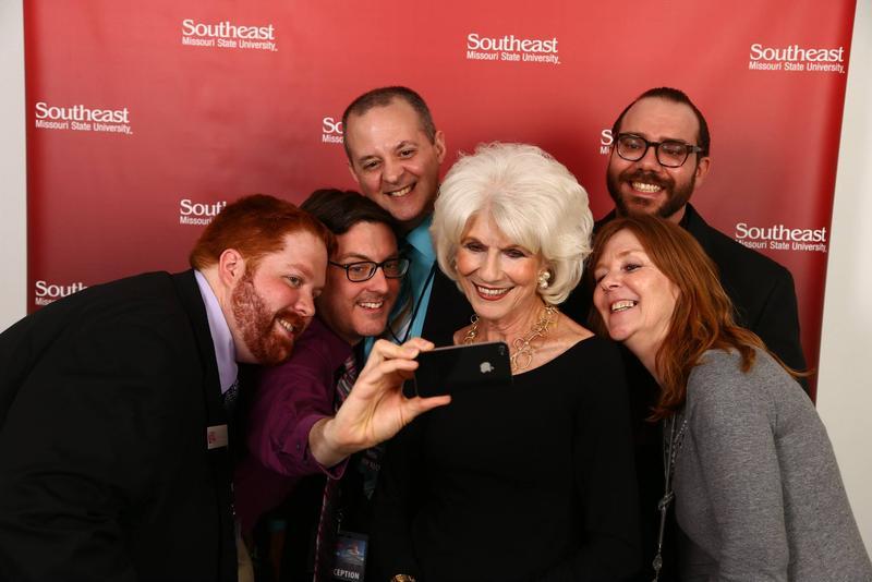 Diane Rehm takes a selfie with KRCU Staff on April 16, 2014