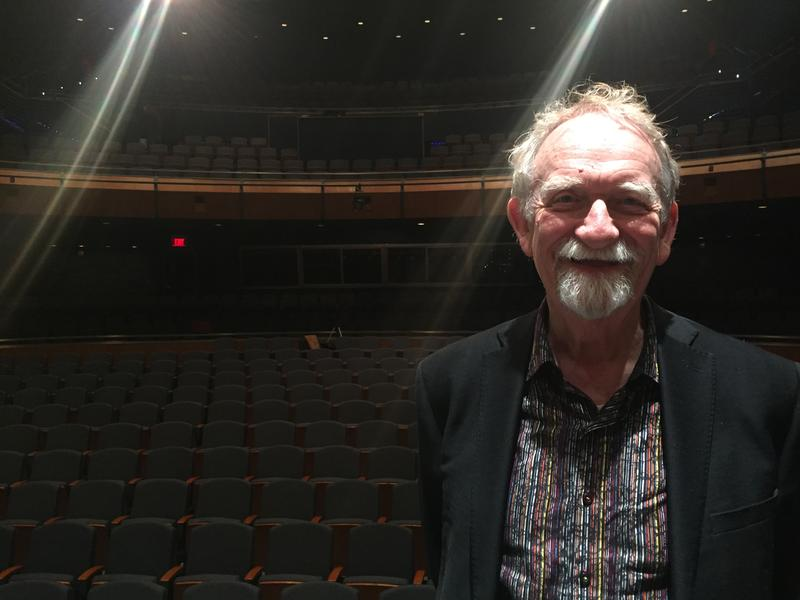 "Dr. Gordon ""Dick"" Goodwin stands on the ten-year-old stage in Bedell Performance Hall at the River Campus."