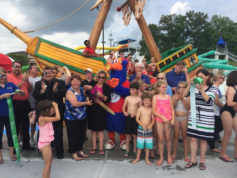 "A ribbon-cutting celebrated the grand opening of the newest Cape Splash attraction, ""Shipwreck Island."""