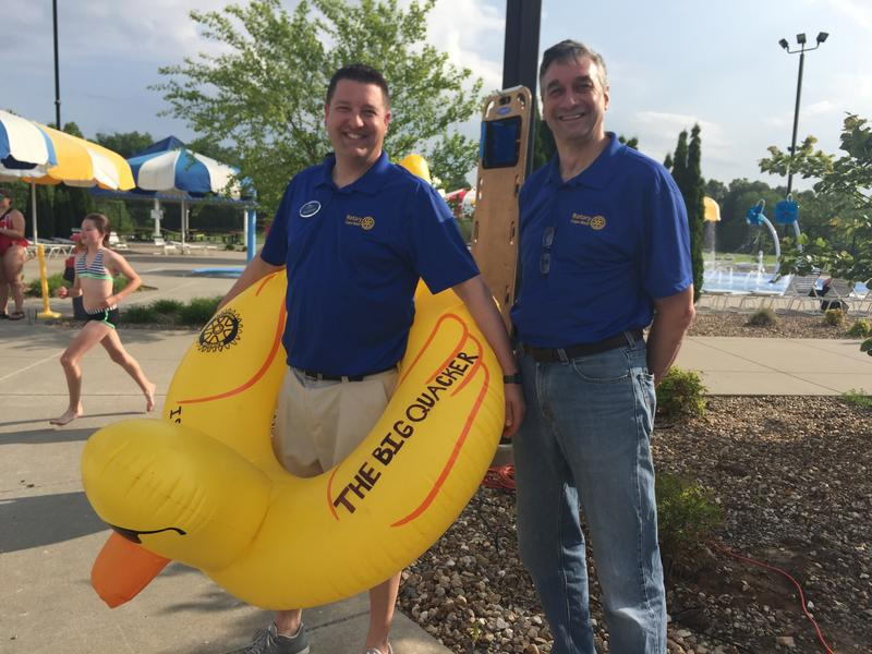 Doug Spooler and Scott McClanahan of the Cape West Rotary prepare for their 3rd Annual Duck Regatta.
