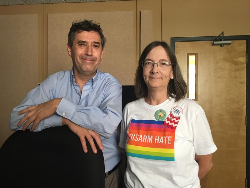 """""""Concert Across America"""" local programmer, Paul Thompson, and local president of the Southeast Missouri chapter of Moms Demand Action for Gun Sense in America, Lynda Stewart."""