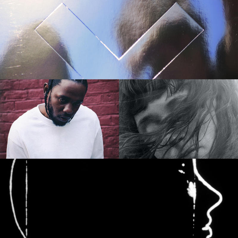 Clockwise from upper left: The xx, Kendrick Lamar, Waxahatchee, Slowdive.