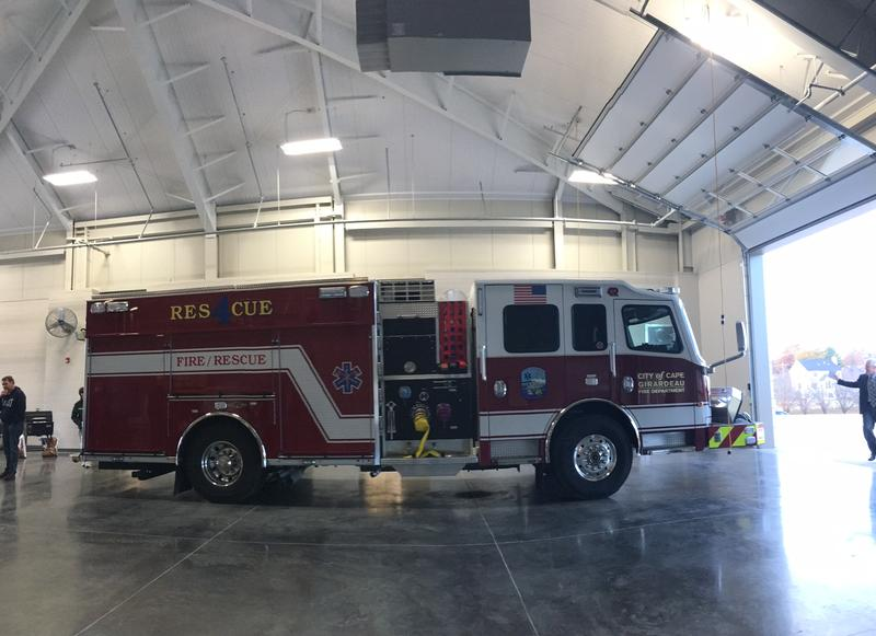A fier truck sits in the new Fire Station No. 4.
