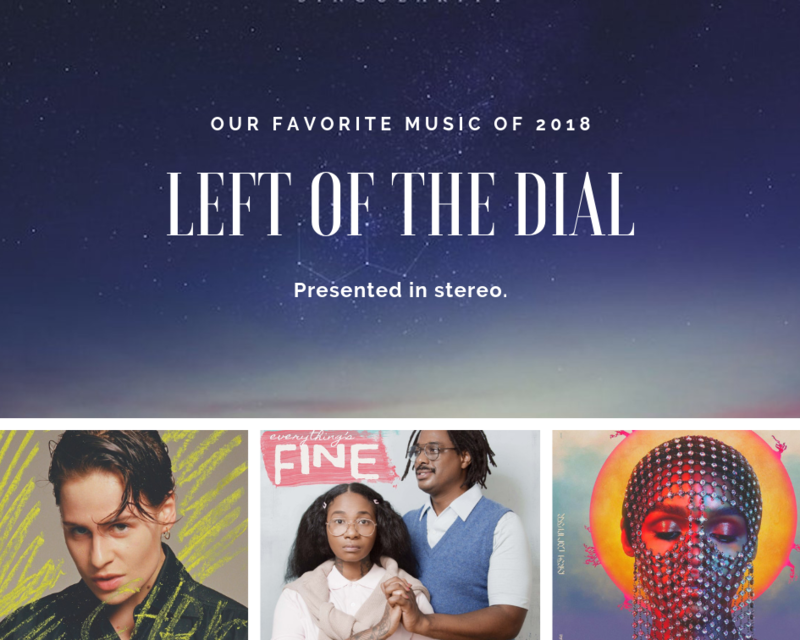 Clockwise from top: Jon Hopkins - Singularity, Christine and the Queens - Chris, Jean Grae and Quelle Chris - Everything's Fine, Janelle Monáe - Dirty Computer