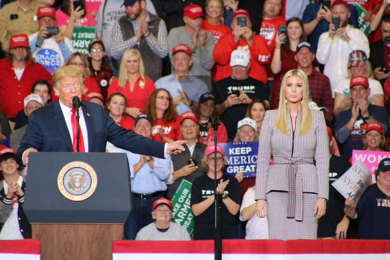 Ivanka Trump joins her father onstage during a rally visit to Cape Girardeau last night.