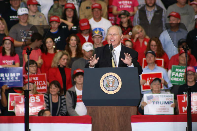 Fox News commentator and Cape Girardeau native, Rush Limbaugh speaks before Trump's arrival at the Show Me Center.