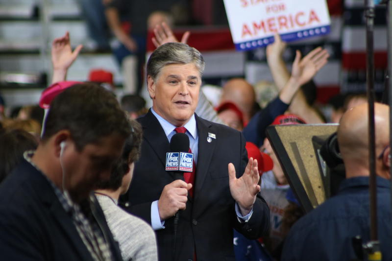 Conservative radio talk show host Sean Hannity makes an appearance at last night's rally.