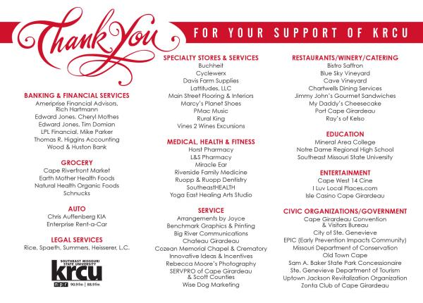 Thanks to the many businesses that support KRCU.