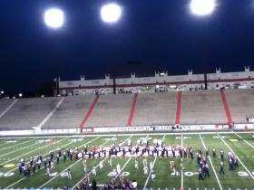 The North Vermilion High School Patriot Marching Band performing at the District Marching Festival at Cajun Field on October 15.