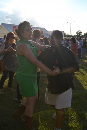 Valerie Broussard Boston dances with State Rep. Vincent Pierre at Lache Pas, one of the fundraisers that helped restore CODOFIL's budget.