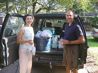 Jan and Dave Spizale with lots of cleaning supplies and headed for New Orleans to their son's apartment.