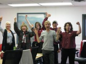 Members of NMSU's Sustainability Council celebrate after submitting NMSU's second Sustainability Tracking Assessment Reporting System report and learning of the gold rating the report received. Pictured (left to right) are: Katrina Doolittle, joni newcomer, Emily Kelley, Jared Dial, Steve Self and Suzanne Montes. (Courtesy photo)