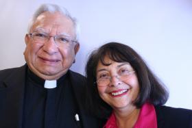 Bishop Ricardo Ramirez and Emily Guerra
