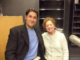 Violist and singer Jorge Martinez-Rios and conductor Marianna Gabbi at KRWG-FM.
