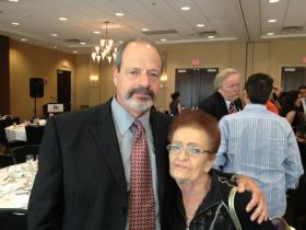 El Paso Mayor Oscar Leeser, with mother Rhoberta, the star of his campaign commercials and car dealership ads.