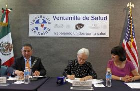 Consul General of Mexico in El Paso Jacob Prado (left), UTEP President Diana Natalicio and Eva Moya, assistant professor of social work at UTEP, participated in a signing ceremony of a new Memorandum of Understanding which will establish a health collaborative in El Paso. Photo courtesy of UTEP News Service.