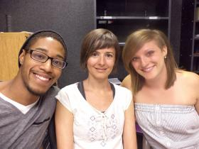 Dancers Morgan (Mo) Williams, Monique Foster and Brynn Fehir at the KRWG studios.