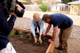 "Stephanie Walker, NMSU Extension vegetable specialist, helps PBS ""Ask This Old House"" host Roger Cook transplant chile plants during the filming of a segment for the show that features the building of a raised garden in Albuquerque. The segment will air Saturday, Oct. 12, on Las Cruces' PBS station KRWG at 12:30 p.m. and Sunday, Oct. 13, on Albuquerque's PBS station KNME at 4 p.m. (Submitted by WBGH)"