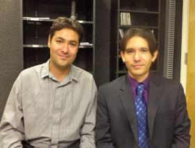 Violist Jorge Martinez-Rios and violinist Daniel Vega-Albela, founding members of La Catrina Quartet.