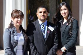 From left: NMSU students Yessenia Marquez, Ramon Hernandez and Jessica Gomez shadowed legislators during the 2014 New Mexico Legislative Session. All three students are in NMSU's College Assistance Migrant Program. (Courtesy photo)