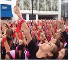 Women raise a finger to say, I am One in a Billion that will not be abused. www.onebillionrising.org
