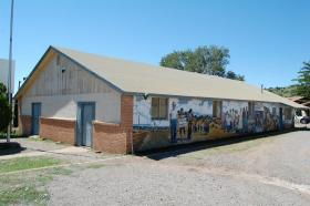 """Local 890"" union hall still stands in Bayard, New Mexico."
