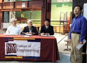 (Left to right) Civil Engineering Department Head Peter Martin, College of Engineering Dean Ricardo B. Jacquez and NCUT College of Architecture and Civil Engineering Dean Tiejun Qu signed a memo of understanding initiating a joint doctoral program.