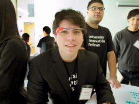 Industrial engineering student Mauricio Garcia sports Google Glass at a visit to Silicon Valley after being named the first-ever University Innovation Fellow from NMSU by the National Center for Engineering Pathways to Innovation, known as Epicenter. (Courtesy photo)