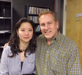 Violinist Qing Li and pianist Richard Dowling at KRWG-FM.