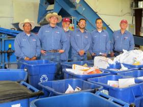 The NMSU Aggie Recycling team works tirelessly to pick up, separate and bale recyclables from all over campus to sell the items on the open market. Proceeds pay for the NMSU recycling program. Left to right are: Jesus Silva, Orlando Gallardo, Ruben Renteria, Omar Moreno, Bart Jones and Fred Madrid. (Courtesy photo)