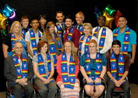 2013 SGDRC community graduates and members wearing the symbolic rainbow stoles during the Lavender Graduation. (NMSU photo by Jessica Spohn)