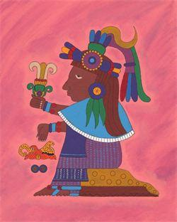 """Xochiquetzal - Goddess of Love and Beauty,"" by Corina Gabaldón, now owned by J.Paul Taylor, historian and art collector."