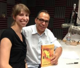 Alfredo Corchado, author of Midnight in Mexico (now in paperback), with his editor, Lauren Villagran at KRWG FM studios.