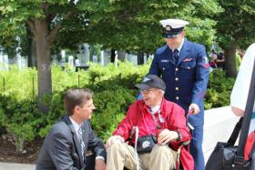 U.S. Senator Martin Heinrich with World War II Veteran Ralph Kress at the National World War II Memorial in Washington, D.C.  Kress traveled to Washington with the Northern New Mexico Honor Flight.