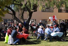 New Mexico State University students and employees turn out for a special Veteran's Day picnic near Garcia Annex in honor of U.S. military veterans. The NMSU Military and Veterans Programs office hosted the event. (NMSU photo by Darren Phillips)