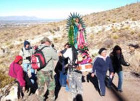 "Pilgrimage on ""A"" Mountain, (photo-Las Cruces Sun News)"