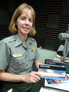 Becky Burghart, WSNM Chief of Interpretation at KRWG FM studios.