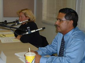 Municipal Judge Melissa Miller-Byrnes debates with Richard M. Jacquez in the KRWG studio.
